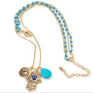 Jewelry - New two Layers Evil Eye Hamsa Necklace